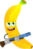 Banana with a gun Royalty Free Stock Photography