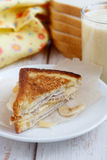 Banana, ham and cheese sandwich. For breakfast Stock Photography