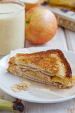 Banana, ham and cheese sandwich. For breakfast Royalty Free Stock Photos