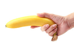 Banana on hand Stock Photography