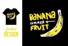 Banana hand drawn illustration with text. Vector illustration fo Royalty Free Stock Photography