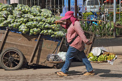 Banana Hawker at Poipet Stock Photo