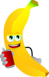 Banana holding beer or soda can Royalty Free Stock Photo