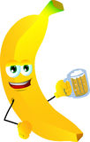Banana holding beer Stock Images