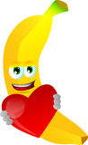 Banana holding a big red heart Stock Photos