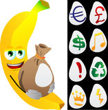 Banana holding a big sack with variable signs Royalty Free Stock Images
