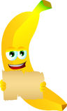 Banana holding a blank old paper Stock Image