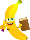 Banana holding a book and a pencil Stock Photo