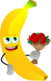 Banana holding a bunch of flowers Stock Image