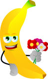 Banana holding a bunch of flowers Stock Images