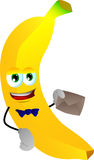 Banana holding an envelope Royalty Free Stock Photo