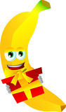 Banana holding gift box Royalty Free Stock Photo