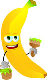 Banana holding a paint can and a paint brush Stock Photo