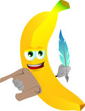 Banana holding paper scroll and feather Stock Images