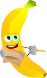 Banana holding pen and papers Royalty Free Stock Image