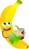 Banana holding popcorn and soft drink Royalty Free Stock Photography