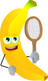 Banana holding a tennis rocket Stock Photo