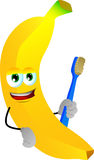 Banana holding tooth brush Royalty Free Stock Photos