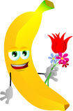 Banana holding tulip and other flowers Stock Image