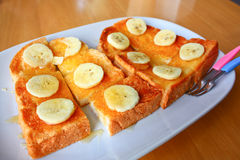 Banana and honey toast Stock Photos