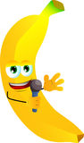 Banana hosting a show and talking into a microphone Stock Photos