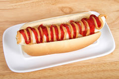 Banana on hot dog bun with peanut butter and jelly Royalty Free Stock Image