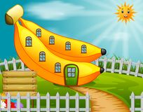 Banana house in garden. Illustration of banana house in garden Stock Photography