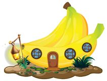 Banana house with lantern. Illustration Stock Photos