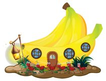 Banana house with red ants marching outside. Illustration Stock Image