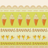 Banana ice cream and bananas. Stock Image