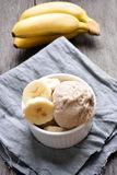 Banana ice cream. In bowl, country style Stock Image