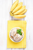 Banana ice cream and fruits Stock Photo