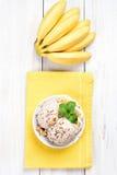 Banana ice cream and fruits Stock Photo