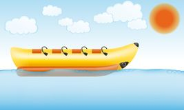 Banana inflatable boat for water amusement vector illustration stock illustration
