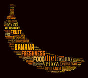 Banana info-text graphics. And arrangement concept (word cloud Stock Images