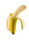 Banana isolata sbucciata Fotografie Stock