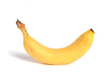 Banana isolata su bianco Fotografia Stock Libera da Diritti