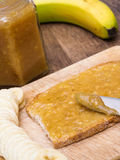 Banana Jam on Bread Stock Images