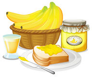 Banana jam, juice and a sandwich Stock Image