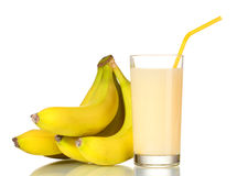 Banana juice with bananas. Over the white Stock Images