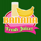 Banana juice sticker or label Royalty Free Stock Images
