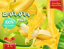 Banana juice. Sweet tropical fruits. 3d vector. Banana juice. Sweet tropical fruits. 3d realistic vector, package design Royalty Free Stock Photos