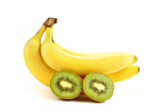 Banana and kiwi Royalty Free Stock Photos