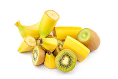 Banana and kiwi massacre. Pile of sliced banana and kiwi royalty free stock photography