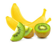 Banana and kiwi Stock Photography