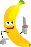 Banana with a knife Stock Photography