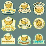 Banana labels. Bananas labels and stickers for using in different spheres Stock Photo