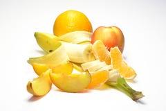 Banana, laranja e pêssego Imagem de Stock