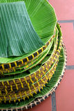 Banana leaf with basket Royalty Free Stock Photos