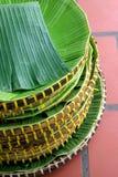Banana leaf with basket Royalty Free Stock Photos